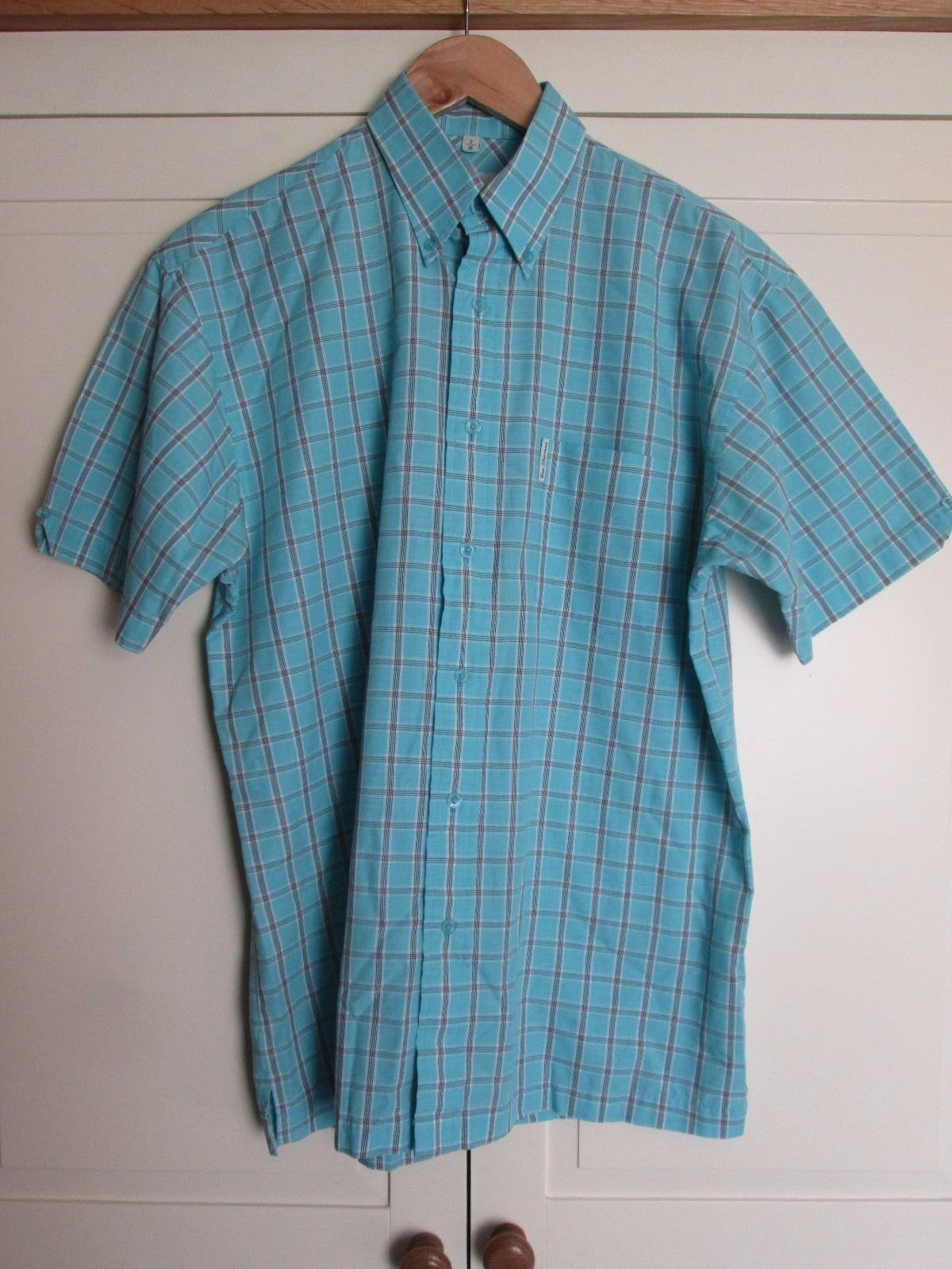 Homme Ben Sherman Carreaux Bleu Coton Manches Courtes Été Chemise Été Courtes Taille M 9f0ee4