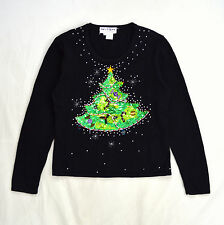 Vtg Black JACK B QUICK Sequin Christmas Tree Beads Light Sweater Sweatshirt S