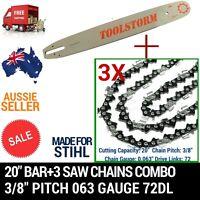 20 Bar+3 Chain 3/8 72dl .063 Combo For Stihl Chainsaw Chain Saw