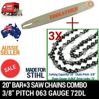 20 Bar+3 Chain 3/8 72dl .063 Combo For Stihl Chainsaw Chain Saw