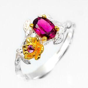 Vintage-Natural-Gemstone-Rhodolite-Garnet-925-Sterling-Fine-Silver-Ring-RVS225