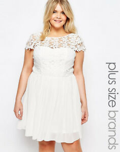 Details about Club L Plus Skater Dress With Crochet Top White Uk 20