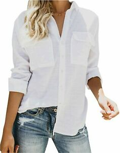 Womens-Button-Down-V-Neck-Shirts-Long-Sleeve-Blouse-Roll-Up-White-Size-Large