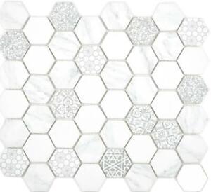 GLAS-Mosaik-Hexagon-Sechseck-ECO-carrara-Wand-Boden-Kueche-Bad-16-0222-10Matten