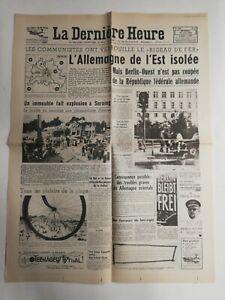 N309-La-Une-Du-Journal-La-derniere-heure-15-aout-1961-l-039-Allemagne-de-l-039-Est-isole