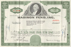Madison-Fund-Inc-gt-1960s-Delaware-old-stock-certificate-share