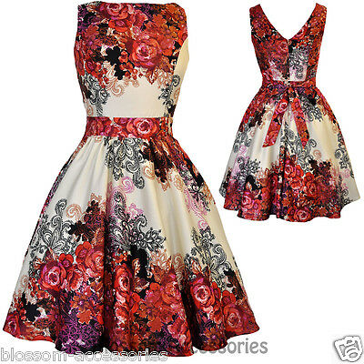 RKL2 Lady Vintage Hepburn Red Rose Floral Tea Dress 50s Swing Retro Rockabilly