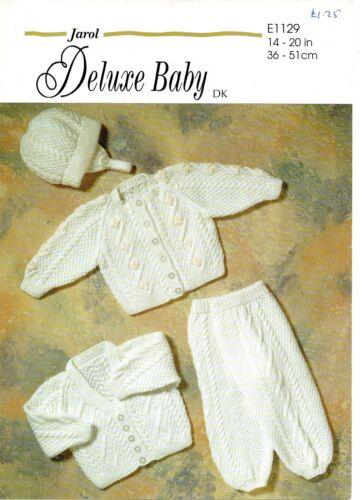 """JAROL 1129 Vintage Baby Tejer patrón DK 14-20 /""""Cardigans Sombrero Leggings"""