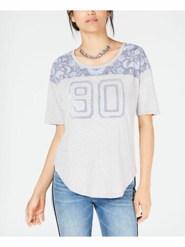 LUCKY BRAND Womens Gray Floral Print Varsity Elbow Sleeves Top XL