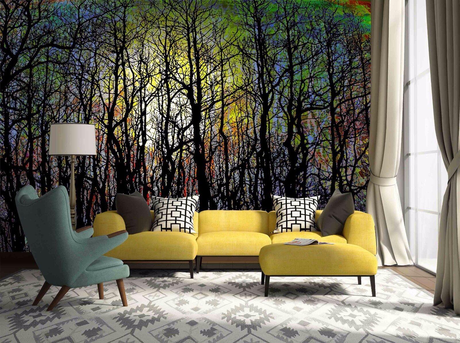 3D Graffiti Wald Natur 8955 Tapete Wandgemälde Tapeten Bild Familie DE Jenny
