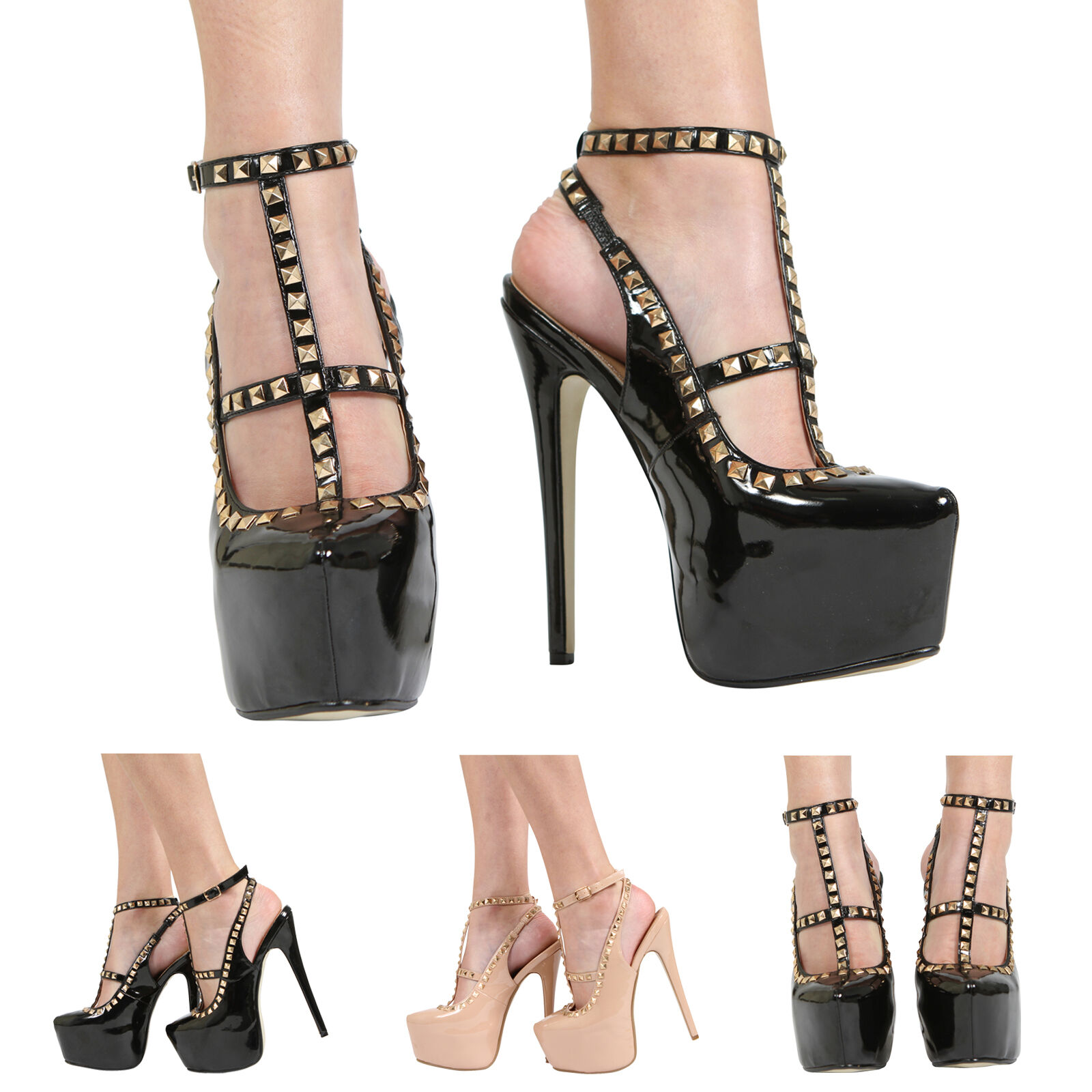 WOMENS LADIES CONCEALED PLATFORM HIGH PARTY HEEL ANKLE STRAP STUDDED PARTY HIGH SHOES SIZE d776af