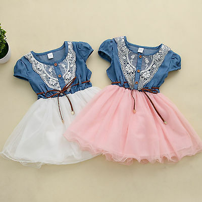 2015 Princess Girls Baby Kids Party Lace Belt Denim Tulle Gown Dresses 1-6Y