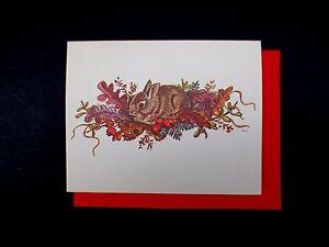 Vintage Unused Tasha Tudor Xmas Greeting Card Sweet Bunny Rabbit on Leaves