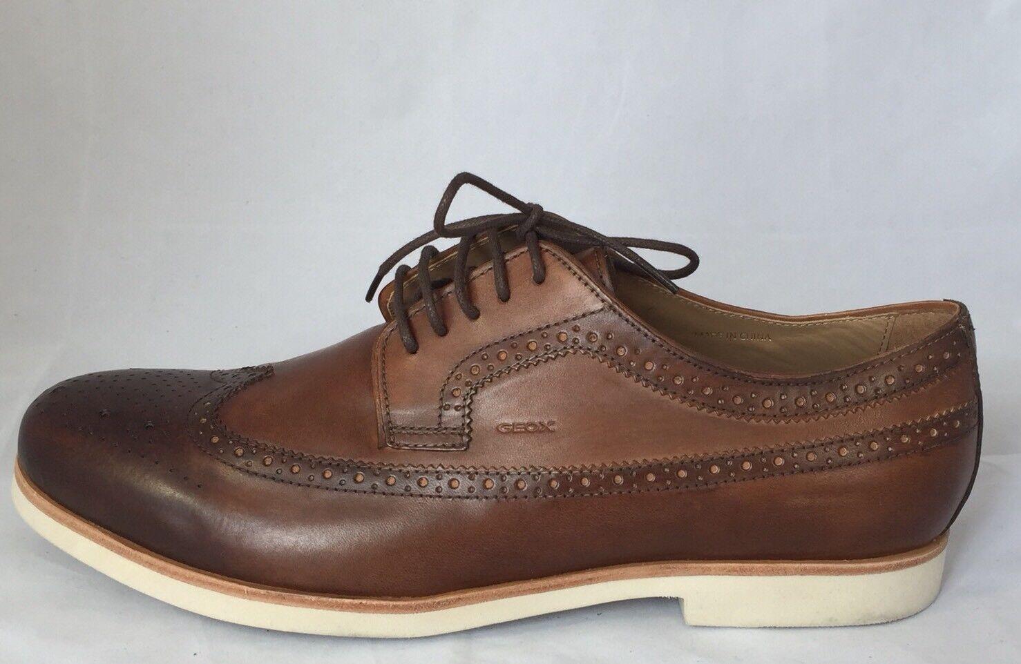 New Geox Respira U Manuel F Men Brogues shoes Cognac Leather 12.5
