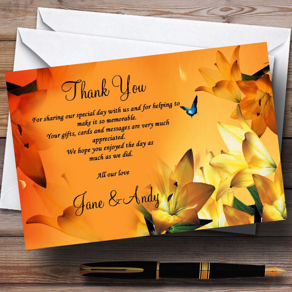 Lily fleur mariage orange mariage fleur Personnalisé Cartes RemercieHommes t 43e50a