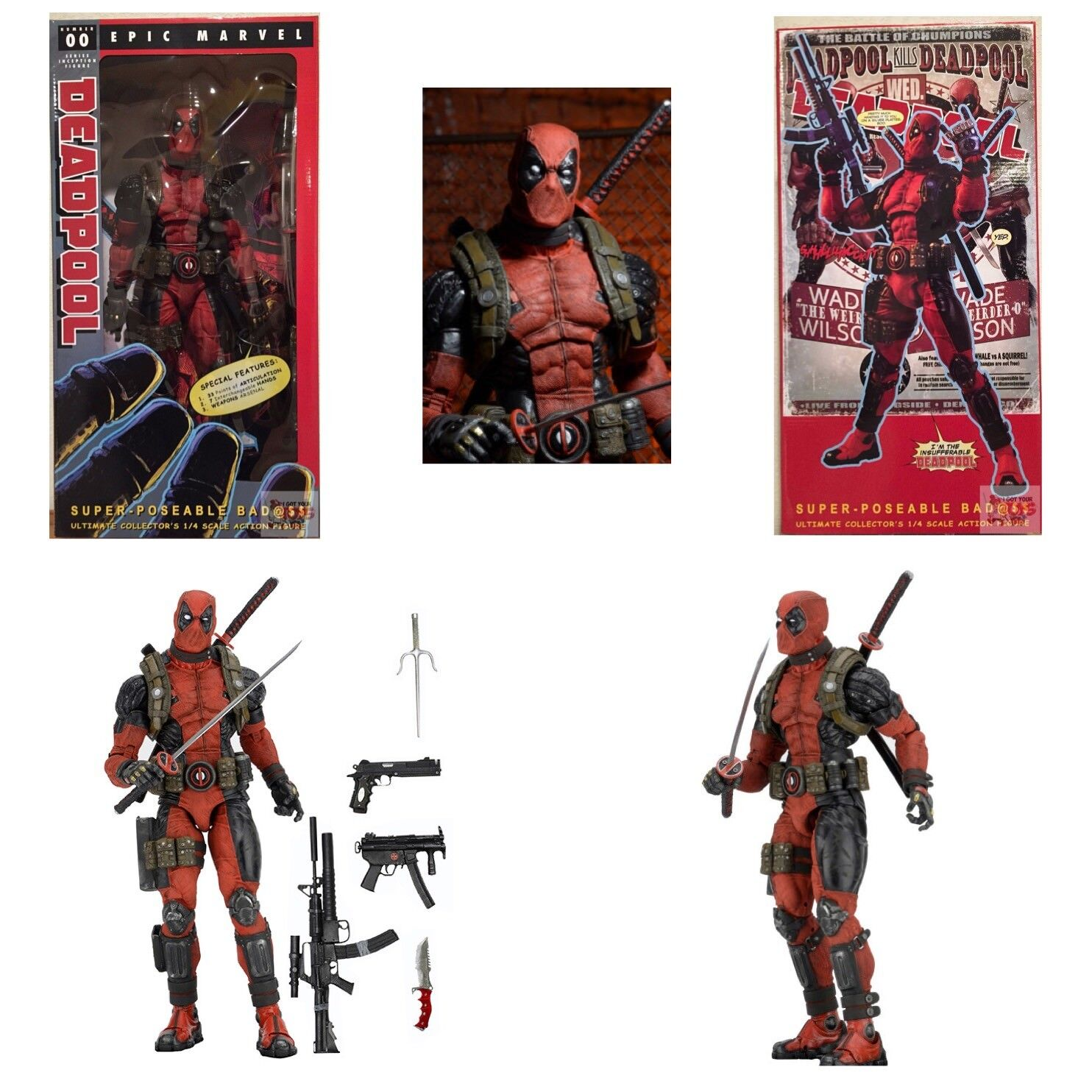 DEADPOOL Super Poseable 1/4 SCALE Neca MARVEL Ultimate EDITION 2016 18