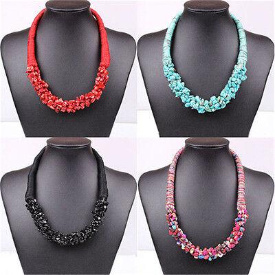 Geometric Turquoise Vintage Statement Bib Necklace Women Fashion Choker Jewelry