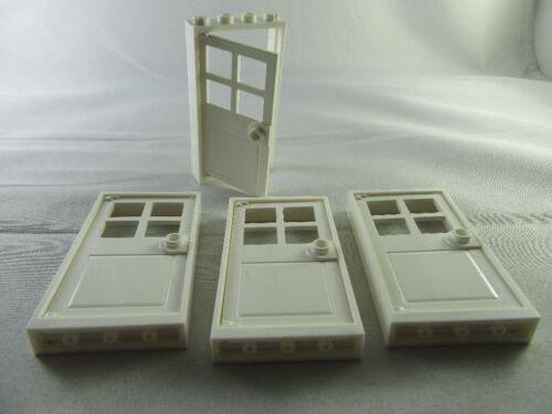 .031 Lego® Basic City Hausbau 4 x Haustür weiß mit Rahmen umbaubar