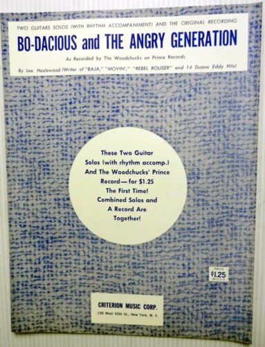 THE WOODCHUCKS Sheet Music BO-DACIOUS /& THE ANGRY GENERATION Lee HAZLEWOOD