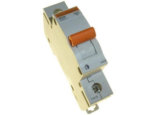 SCHNEIDER MERLIN GERIN 12559 Circuit Breaker 20 Amp Single Pole Type B MCB 20A