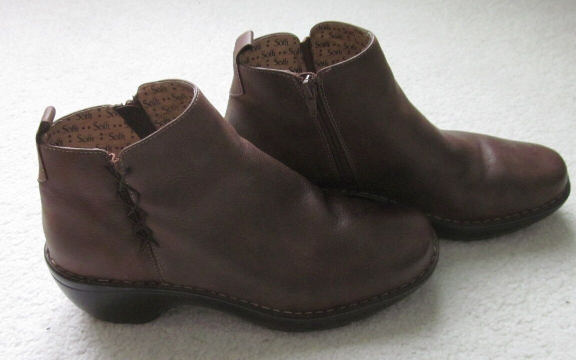 Sofft Womens Brown Leather Ankle Boots US 10.5