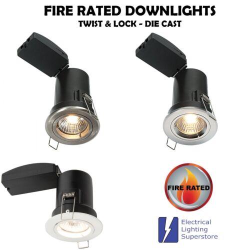 15x GU10 Mains Fire Rated Fixed Die Cast Twist Lock Recessed Downlight SCREWLESS