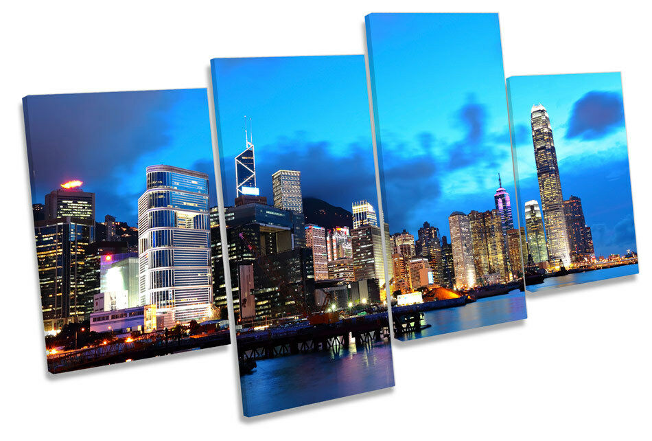 Hong KONG CITY BLU SKYLINE Multi Canvas Wall Art Art Art Print Picture c7fc0e