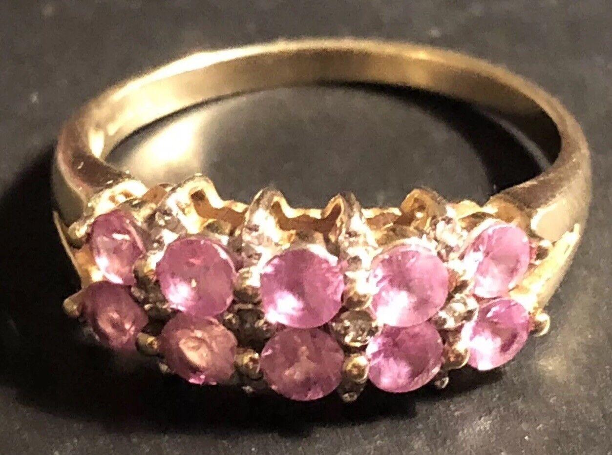 Beautiful 9ct gold Pink Stone - Diamond Dress Ring , Size S,-3.61g  GT