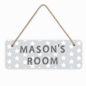 Personalised Grey Stars Kids Children/'s Room Door Hanger Sign Baby Nursery