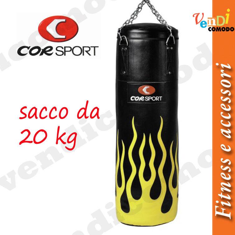 Sacco Boxe Flame 20 kg CORSPORT Pu/Pvc altezza 100cm diam 30cm pugilato