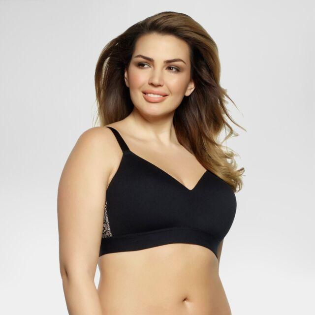 46e88fa1fc0d82 Paramour Women s Ariel Full Figure Wirefree Bralette - Black 38d for ...