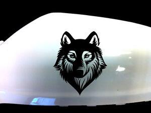 Wolf-Werewolf-Car-Stickers-Wing-Mirror-Styling-Decals-Set-of-2-Black
