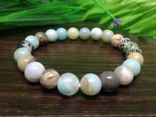 8 Mm Amazonite Bouddha Bracelet Gemstone Bracelet unisexe Coupe 7.5 in environ 19.05 cm