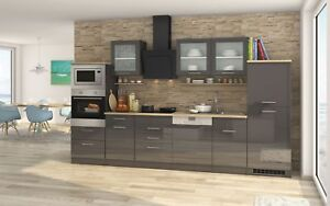 k chenzeile mit elektroger ten einbauk che geschirrsp ler 340 cm hochglanz grau ebay. Black Bedroom Furniture Sets. Home Design Ideas