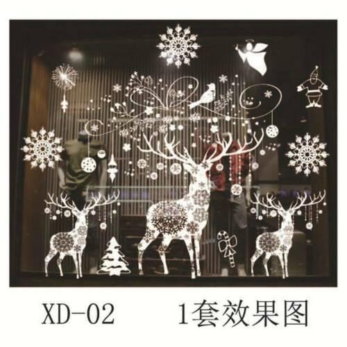 Santa Snowflakes Christmas Window Sticker Winter Xmas Wall Decal Stickers Decor