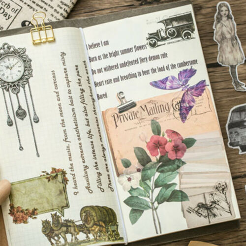 60pcs Old Things Vintage Car Plant Stickers Kawaii DIY Scrapbooking Stickers