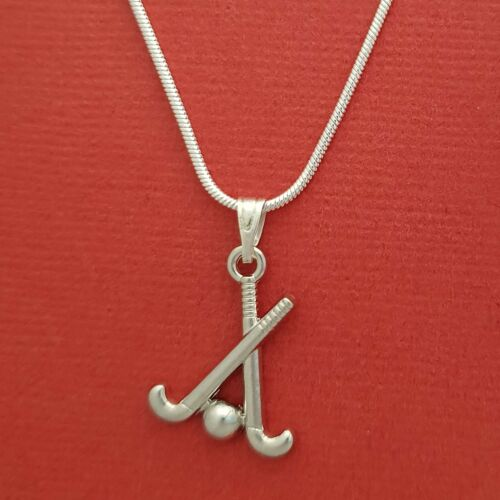 Hockey sticks Necklace Charm Pendant and silver plated chain 18inch 45cm