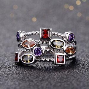 Retro 925 Silver Amethyst Gemstone Birthstone Wedding Couple Ring Wholesale 6-12