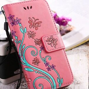 Womens-Flip-Leather-Silicone-Flower-Plant-Print-Ladies-Wallet-Case-For-Samsung-B