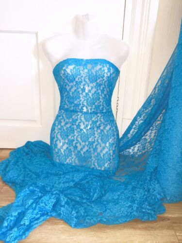 """3 MTR JEWEL BLUE LACE NET LYCRA STRETCH FABRIC...60/"""" WIDE £10.49 SPECIAL OFFER"""
