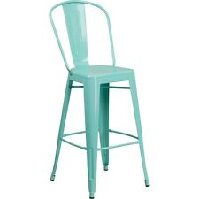 Flash Furniture 30in High Mint Green Metal Indoor-Outdoor Barstool with Back NEW