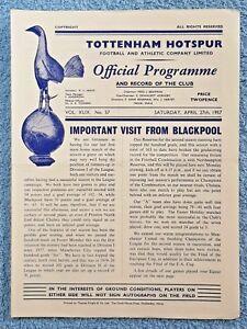 1957-TOTTENHAM-v-BLACKPOOL-PROGRAMME-FIRST-DIVISION-56-57
