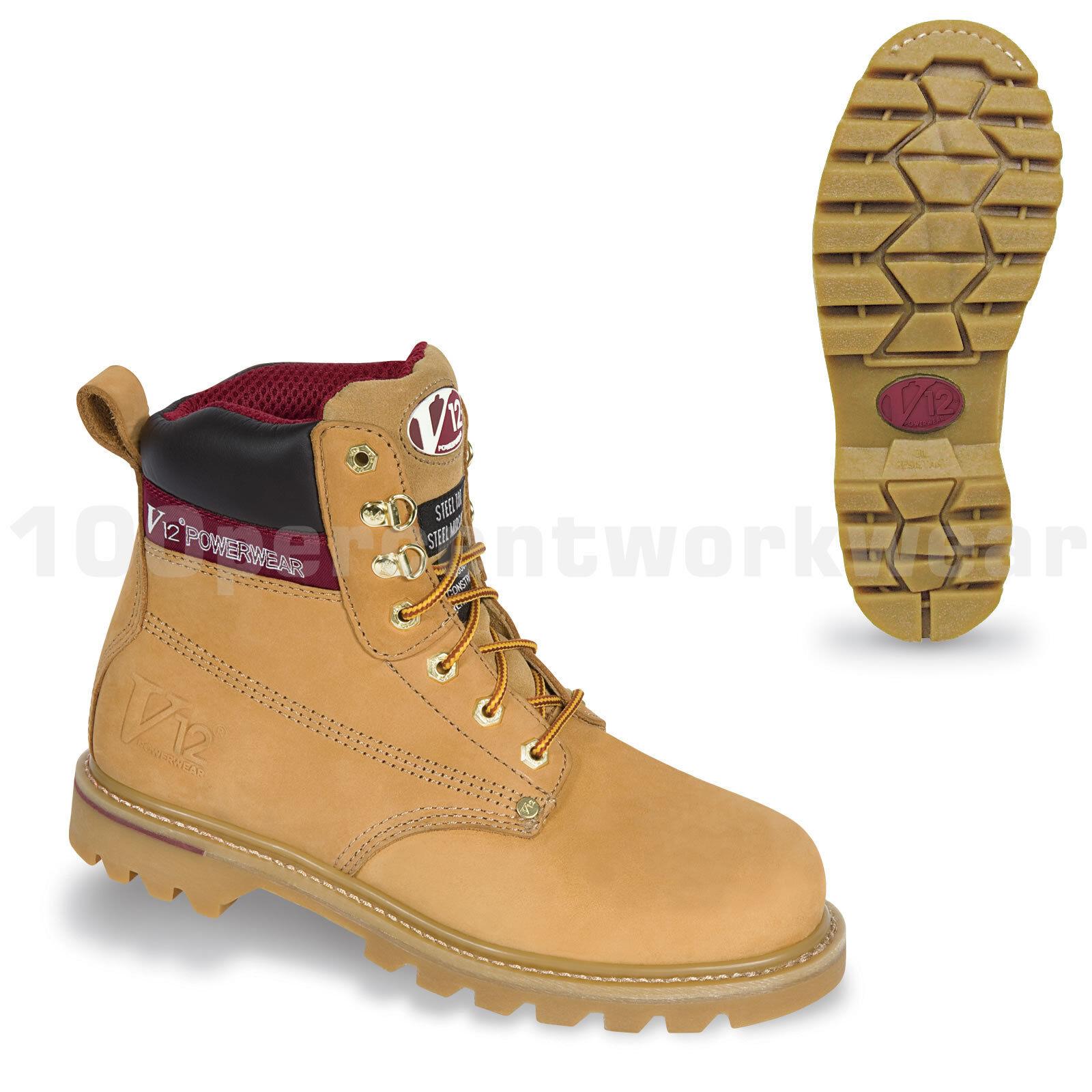 V12 Safety Footwear V1237 BOULDER Work Boots Honey Nubuck Leather Steel Toe Cap