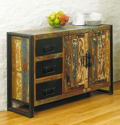 Urban Chic solid reclaimed wood large living dining room storage sideboard