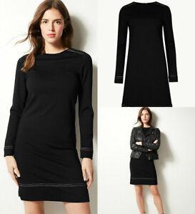 M-amp-S-Marks-Spencer-para-mujer-Negro-Ponte-estiramiento-jersey-de-manga-larga-vestido-de-cambio