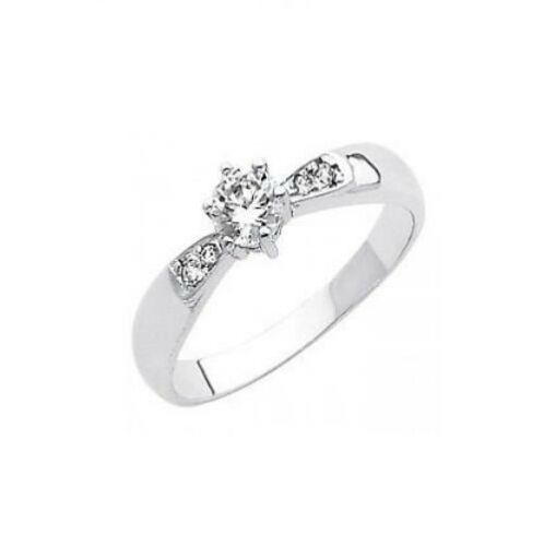 14K Solid White Gold 0.85ctw Simulated Diamond Solitaire Engagement Ring
