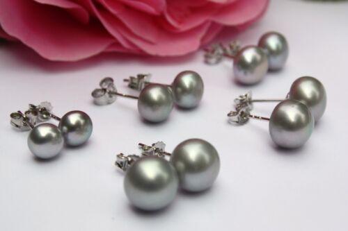 Grey 6mm-10mm Cultured Freshwater Pearls Jewelry Earrings Ear Stud 925 Silver