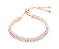 Rose Gold Tone 3 Row Cubic Zirconia Adjustable Tennis Bracelet