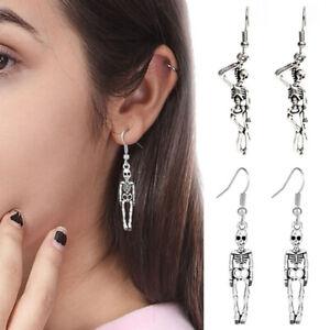 Halloween-Gothic-Earrings-Ear-Drop-Dangle-Skeleton-Skull-Party-Charm-Jewelry