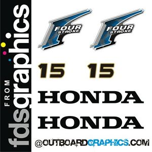 Honda 15 hp  Outboard decal sticker set 4-Stroke   Marine Vinyl Decal Kit
